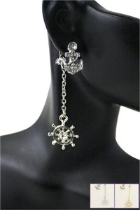 Other Nautical Anchor Helm Crystal Acent Silver Tone Fashion Earring