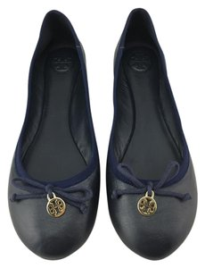 Tory Burch Leather Chelsea Ballet Navy Flats