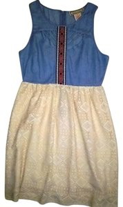 Flying Tomato short dress DENIM AND BEIGE Polyester Turkish Cotton Lace Free Shipping on Tradesy