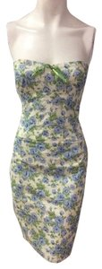 SHOSHANNA Designer Dress Size 4 Small S Blue Floral Sundress Formal Career 2 6 short dress on Tradesy