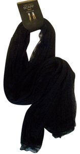 Mix It Mesh Lace Trimmed Fall Winter Black LightWeight Knit Scarf