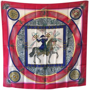 Hermès Hermes Vintage Feux d'Artifice Silk Scarf in Red