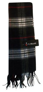 V. FRAAS Black Multicolor Plaid Fall Winter Fringed Flannel Scarf V. Fraas