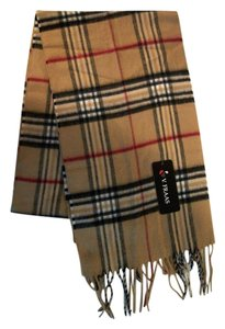 "V. FRAAS Light Brown ""Camel"" Multicolor Plaid Fall Winter Fringed Flannel Scarf"