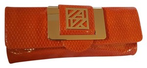 Anne Klein Orange/Gold Clutch