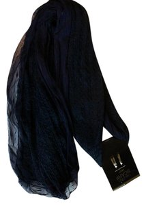 Mix It Mesh Lace Trimmed Fall Winter Navy LightWeight Knit Scarf