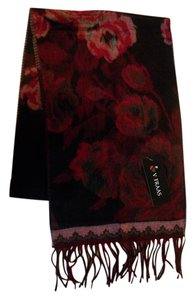 V. FRAAS Black & Red Floral Pattern Fall Winter Fringed Flannel Scarf V. Fraas