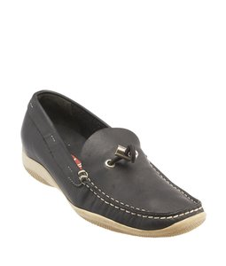 Prada Toggle Loafers Leather Navy Blue Flats