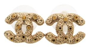 Chanel #7614 CC Rare Bronze crystals mini Gold pierced stud earrings