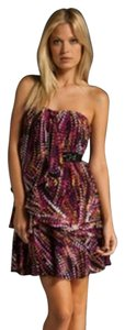 BCBGMAXAZRIA Silk Print Strapless Dress