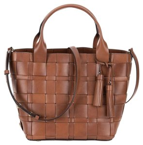Michael Kors Vivian Medium Tasseled Woven Tote in Walnut