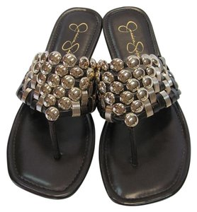 Jessica Simpson Size 9.00 M Very Good Condition Brown, Gold, Flats
