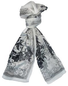 Valentino Valentino Grey Floral Silk Ladies Scarves