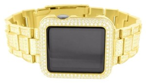 Apple Yellow Gold Finish Apple Watch Lab Diamonds IOS Display Men