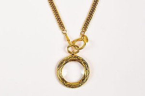 Chanel Vintage Chanel Gold Tone Curb Chain Magnifying Glass Pendant Necklace
