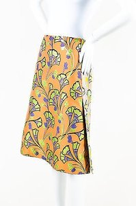 Marni Sun Metallic Lame Floral Jacquard Skirt Orange