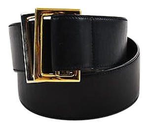 Gucci Vintage Black Gold Tone Silver Tone Leather Belt 85