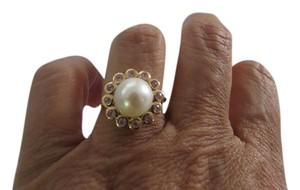 Other 14k YG 9-10mm Pearl w/Pink Topaz Border, Size 7.25