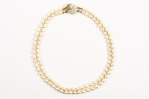 Miriam Haskell Vintage Miriam Haskell Brass Faux Pearl Crystal Double Strand Short Necklace