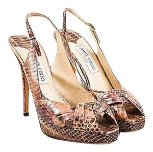 Jimmy Choo Pink Brown Python Multi-Color Pumps