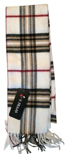 V. FRAAS Off-white Multicolor Plaid Fall Winter Fringed Flannel Scarf V. Fraas