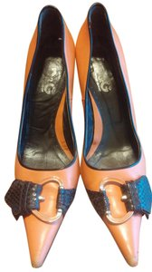 Dolce&Gabbana Kitten Heel Buckle D&g Orange and Brown Pumps