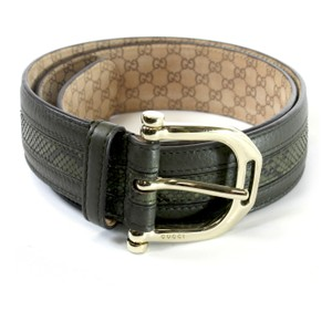 Gucci GUCCI Green Python Leather Belt with Metal Buckle 85 34 - 245885