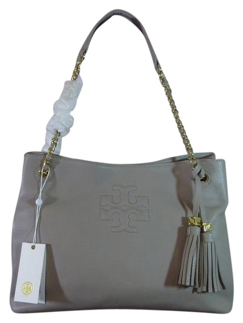 Item - Thea French Chain Shoulder Slouchy Gray Leather Tote