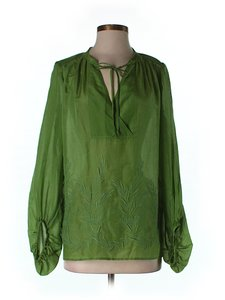 BCBGMAXAZRIA Embroidered Top Green