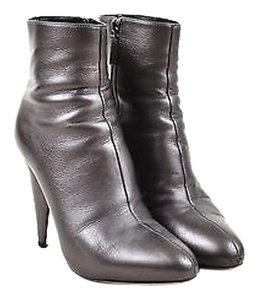 Prada Gunmetal Leather Silver Boots