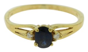 Other Oval natural Sapphire Ring w/ Diamond Accents Gold Solitaire
