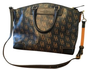 Dooney & Bourke Satchel in Black and Biscuit