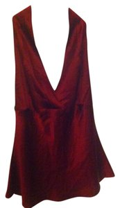 Express Silk Blousey Sexy Large Vintage Retro Marilyn Monroe Top Dark Red