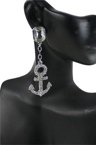 Nautical Anchor Rhinestone Crystal Acent Silver Tone Fashion Earring