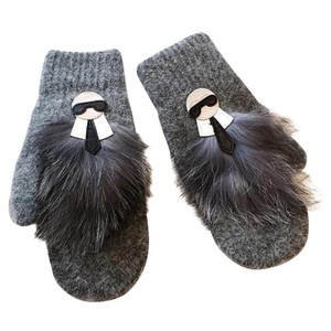 Karl L Gray Wool Mittens With Real Fur Trim