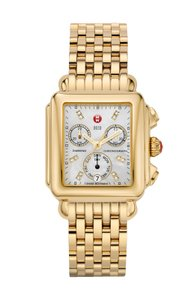 Michele NEW Michele Deco Diamond Dial Gold MWW06P000016 Ladies Watch