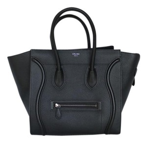 Céline Mini Luggage Leather Tote in Black