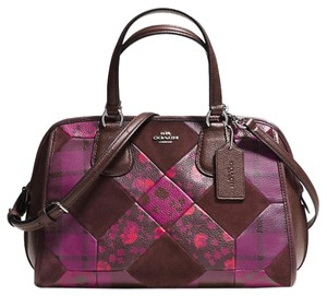 Coach Patchwork Brown Pink Leather Satchel in Multicolor Cyclamen