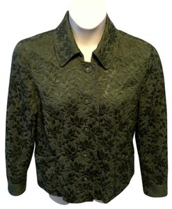 J. Jill Casual Solid Quilted Cotton Olive Green Jacket