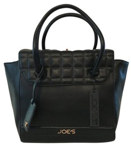 JOE'S Jeans Quilted Vegan Leather Gold Hardware Satchel in Black