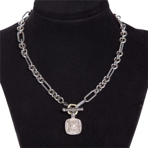 David Yurman Sterling Silver and Pave Diamond Figaro Link Necklace