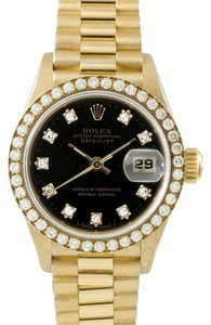 Rolex Rolex Ladies 18k Yellow Gold DateJust President Diamond Watch 69178