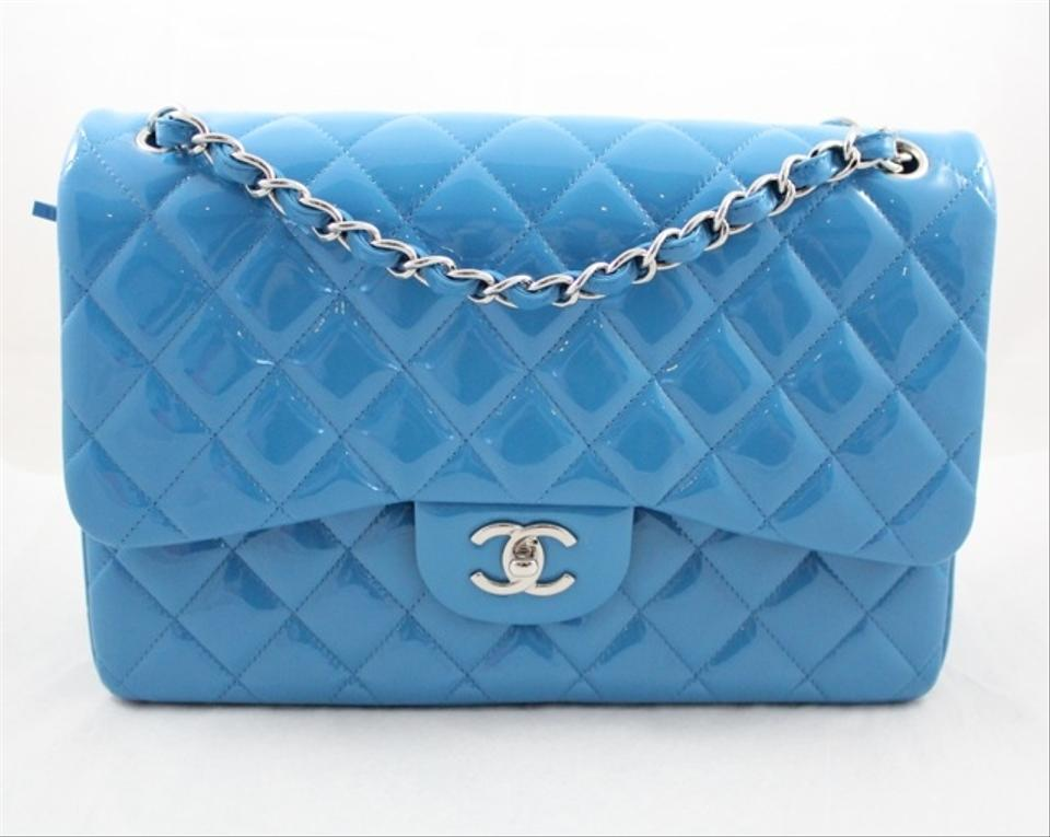982a1d6ff1b0ad Chanel Classic Shw Flap Turquoise Blue Patent Leather Shoulder Bag ...