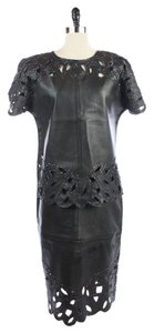 Others Follow LAMBSKIN LEATHER + BEADED Lasercut SHIRT SKIRT OUTFIT