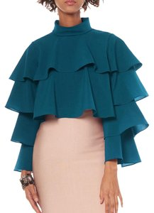 Gracia Ruffle Burgundy Top Teal