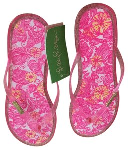Lilly Pulitzer Pink, yellow Sandals
