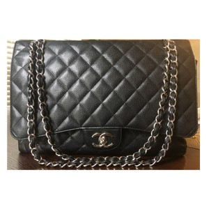 Chanel Maxi Caviar Double Flap Shoulder Bag