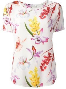 Equipment Silk Floral Top white