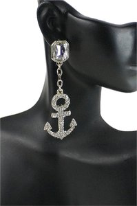 Other Nautical Anchor Rhinestone Crystal Acent Gold Tone Fashion Earring