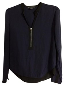 A|X Armani Exchange Flowy Zipper Button Color-blocking V-neck Top Navy Blue/Black